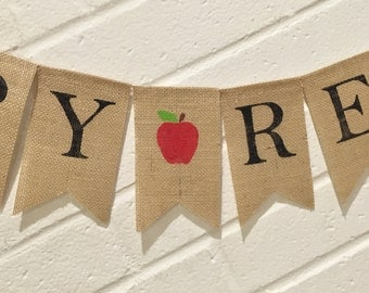 HAPPY RETIREMENT Burlap Banner, Teacher Retirement, Retirement Bunting, Retirement Decoration, Retirement Garland