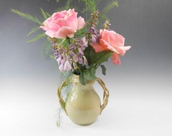Pottery vase - Rustic flower vase - ceramic art vase -  light green vase - rustic vase  V10