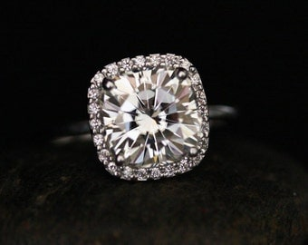 Forever Brilliant Moissanite Engagement Ring Cushion 9mm with Diamond Halo and 14k White Gold Band