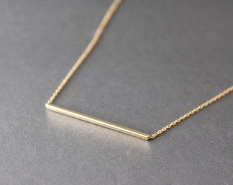 Gold Bar necklace  - Bar necklace - layering necklace