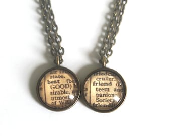 Friendship Jewelry Necklace Set Dictionary Pages