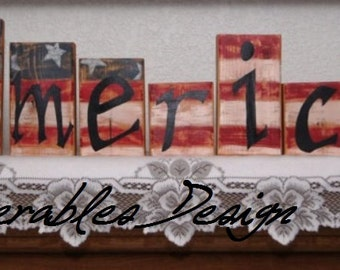 America - Wood Letter Blocks - Americana - Patriotic or 4th of July Decoration