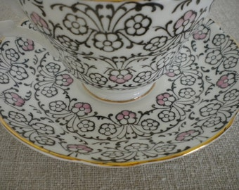Bone China Teacup Tea Cup & Saucer / English Castle / Made in Staffordshire England - Romantic Shabby or Kitschy - Circa 1950