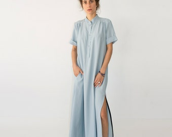 Blue Maxi Dress, Plus Size Dress, Bohemian Dress Women, Short Sleeve Dress, Blue Dress, Bohemian Wedding Dress, Plus Size Clothing, Gift