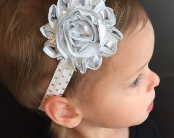 Silver Baby Headband..Baby Headband..Silver Headband..Headband..Toddler Headband..Baby Headbands..Infant Headband..Newborn Headband