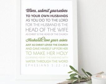 Bible Verse Art  -  Ephesians 5:22-26 - Scripture Print - Scripture Typography - Wall Art