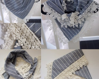 SUMMER SALE! 30%OFF - Triangle Scarf with Lace trim