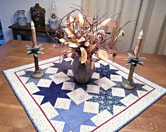 Primitive Quilted Table Topper in Blues and Cream