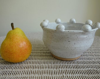 Small Bubble Pot - Wheel-thrown, Speckled White Pottery Pot