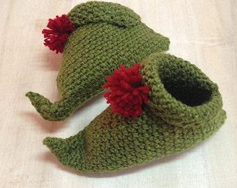 Knitting Pattern For Baby Elf Shoes : Crochet elf slippers Etsy