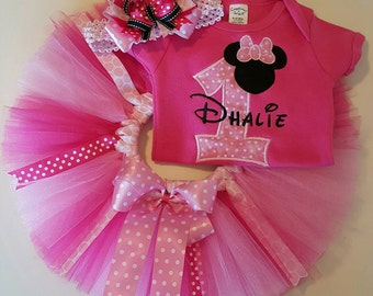 Personalized Minnie Mouse First Birthday tutu set