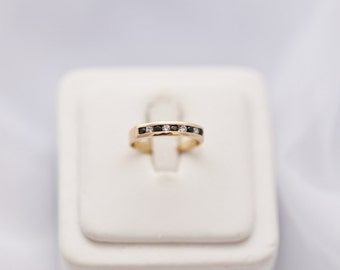 Solid 14K Gold Band Ring Cubic Zirconia, CZ Stacking Ring Band
