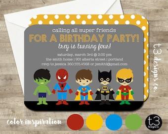 SUPERHERO Birthday Invitation (BIRTHDAY INVITATION) super hero birthday invitation, super heroes, superheroes birthday invite