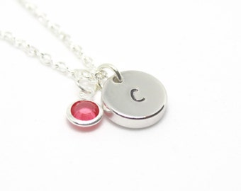 October Birthstone Necklace, Personalised Necklace, Metal Stamped Initial Necklace, Gift for Mum, Monogram Necklace, October Birthday Gift