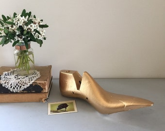 Shoe mold vintage shoe form gold painted up cycled hard soild pastic
