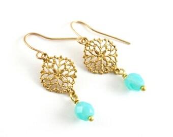 Golden Filigree and Sea Glass Earrings, Turquoise Blue Glass Earrings, Gold Drop Earrings