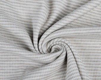 Oatmeal Off White Stretch Thermal Stripe Fabric by the Yard - 1 Yard Style 657