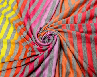 Gray and Pink  Striped Jersey Knit Fabric by the yard - 1 Yard Style 6723