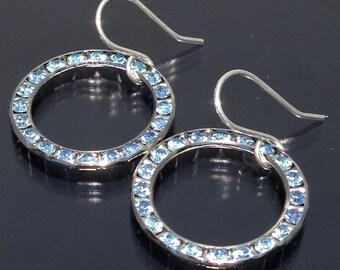 Blue Swarovski Circle Earrings Spectacular