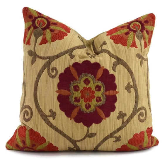 red orange brown tan suzanni throw pillow cover moroccan. Black Bedroom Furniture Sets. Home Design Ideas