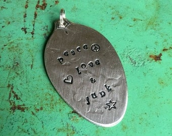 Stamped Vintage Upcycled Spoon Jewelry Pendant - Peace Love & Junk ('N)