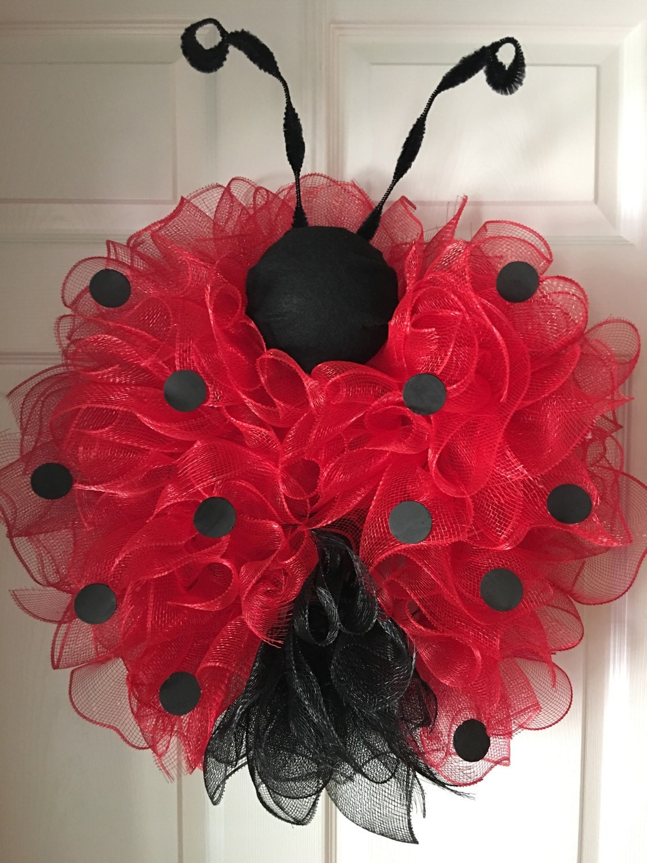 Whimisical Ladybug Deco Mesh Wreath Lady Bug