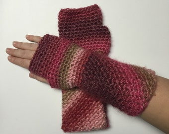 Pink, Red, and Tan Ombré Crochet Fingerless Gloves