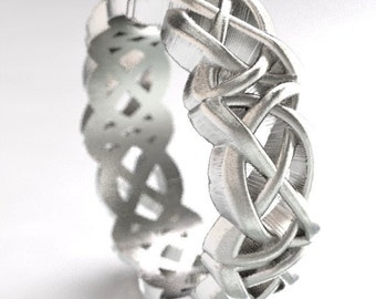 Celtic Cut-Through Dara Style Knot Design in Sterling Silver, Made in Your Size CR-1063