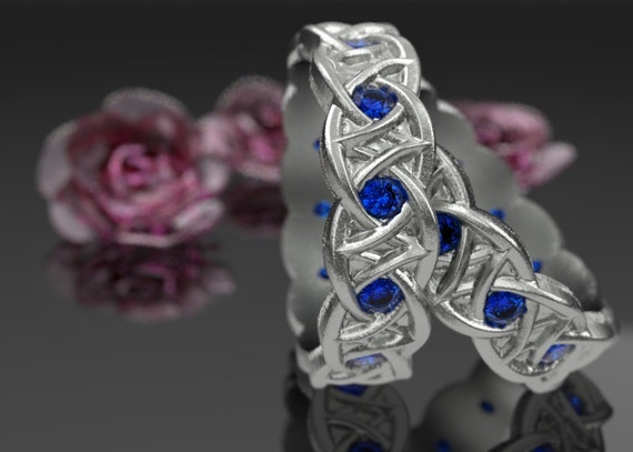 Gold Celtic Wedding Ring Set of 2 Rings Dara Knot Design & Blue Sapphire Stones in 10K 14K 18K or Palladium, Made in Your Size Cr-1036