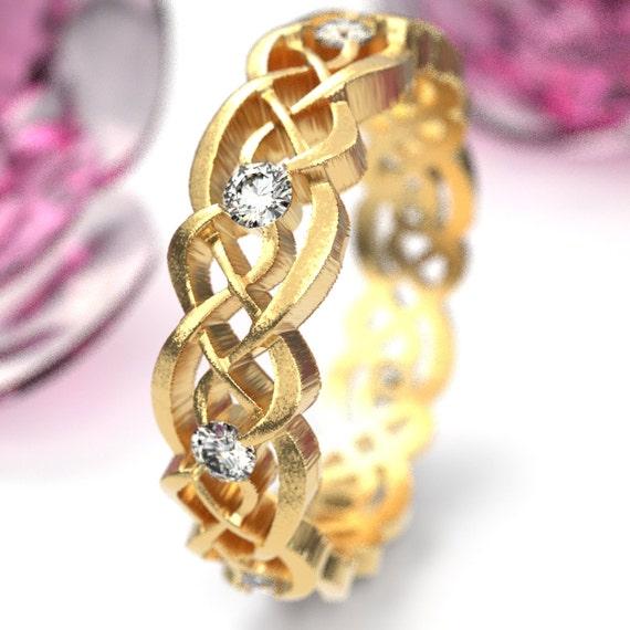 Gold Celtic Wedding Ring With Moissanites, Infinity Band, Eternity Diamond Ring in 10K 14K 18K Palladium or Platinum, Custom Size 1044