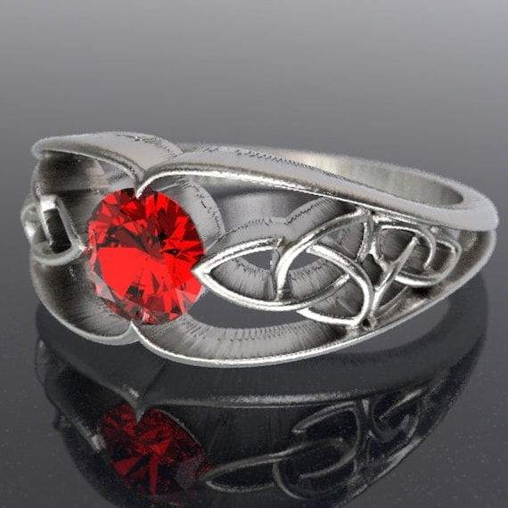 Celtic Engagement Ring With Trinity Knot Design With Ruby Stone in Sterling Silver, Made in Your Size CR-1048