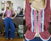 Vintage 1970s Country Bumpkin Lace up Red Floral and Gingham Blouse with Peplum detail by You Babes- Medium
