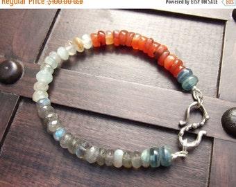 ON SALE Santa Fe Bracelet---Labradorite & Aquamarine Bracelet, Carnelian Bracelet, Kyanite, Rutilated Quartz, Artisan Bracelet, Boho Bracele