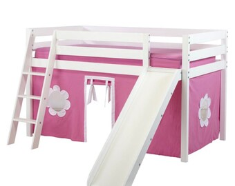 Twin Loft Bed with Slide and Hot Pink/White Curtain, White