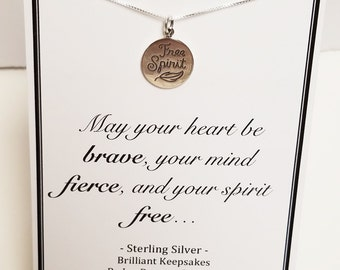 Free Spirit Pendant Quote Necklace Sterling Silver