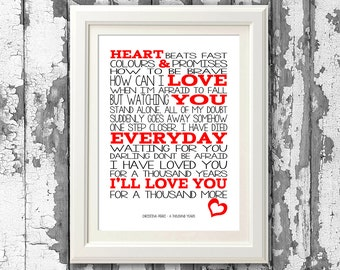 Christina Perri A Thousand Years . 8x10  picture mount & Print Typography song  lyrics for framing ( No Frame )