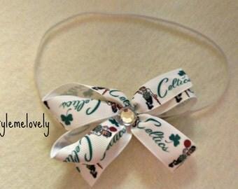 Boston Celtics Baby Girl Boutique Bow Elastic Headband