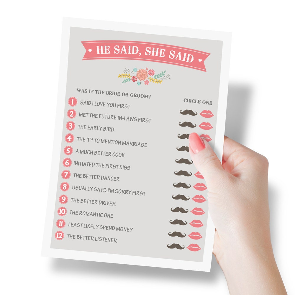 Questions To Ask Bride And Groom About Each Other: He Said She Said Bridal Shower Game Wedding Shower Game