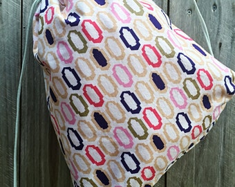 Cinch bag - cinch sack - preppy - prep- geometric - pink  interior - drawstring bag - travel bag