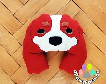 STUART red white cute Cavalier King Charles Spaniel felt throw pillow OOAK / 4PawsFashion