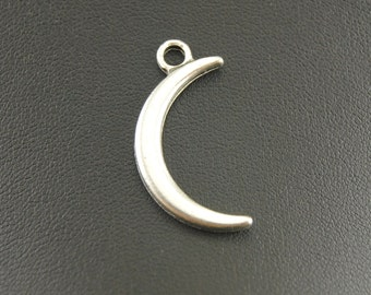 10 Moon Charms, 30x15mm Antique Silver Tone Moon Charms Pendant