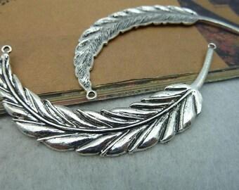 2pcs 18x95mm Antique Silver Big Feather Charm Pendant
