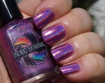 Call Me Mabel - pink linear holographic - nail polish by Indigo Bananas