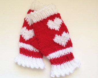 Valentine Fingerless Gloves, Heart Gloves, Red and White Wrist Warmers, Knit Hand Warmers, Gift Giving, Texting Gloves, Love Gloves