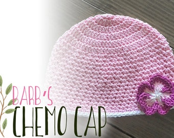 Chemo Cap Hat Crochet Pattern PDF (Barb's Chemo Cap Crochet Pattern by Little Monkeys Crochet) Beanie Hat Pattern, Crochet Chemo Hat