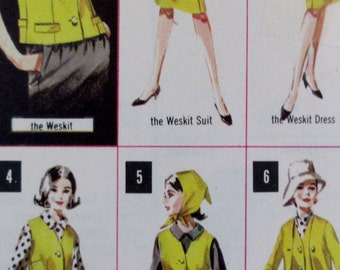 Vintage Butterick 1960s  Misses Weskit and Coordinates Skirt, Pants, Jacket, Blouse #2981  Size  14 Bust 34 **Epsteam