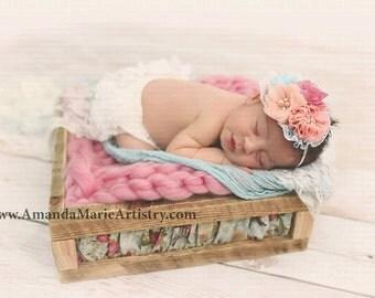 Ready to Ship Newborn Bump Blanket Chunky Knit Bump Blanket, Layering Blanket, Basket Filler, Basket Stuffer Newborn Girl Prop cotton candy