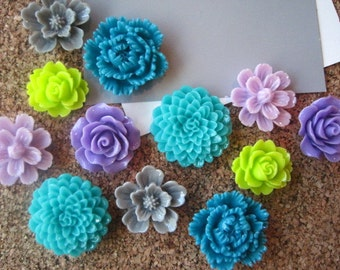 Thumbtack Set, 12 pc Flower Pushpins, Purple, Lime Green and Teal, Office Supply, Stocking Stuffer, Small Gift, Housewarming Gift, Dorm Room