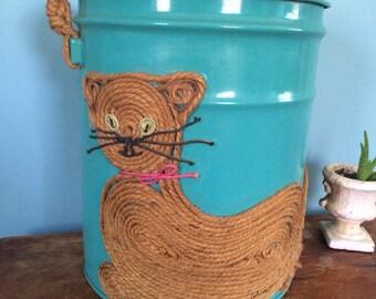 "Retro Handmade Macrame Cat Embellished Teal Bucket, 13.5"""