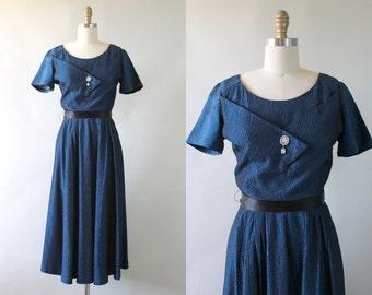 Vintage 1950s Blue Party Dress / 50s Sharkskin Taffeta Dress / Blue Sapphire Dress